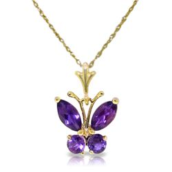 Genuine 0.60 ctw Amethyst Necklace Jewelry 14KT Yellow Gold - REF-23Z5N