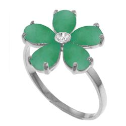 Genuine 2.22 ctw Emerald & Diamond Ring Jewelry 14KT White Gold - REF-52K4V