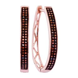 0.33 CTW Red Color Diamond Double Row Hoop Earrings 10KT Rose Gold - REF-37K5W