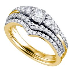 1 CTW Diamond Chevron Bridal Wedding Engagement Ring 14KT Yellow Gold - REF-127N4F