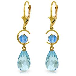 Genuine 11 ctw Blue Topaz Earrings Jewelry 14KT Yellow Gold - REF-46H7X