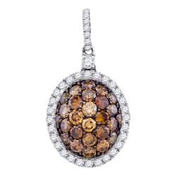 1.3 CTW Cognac-brown Color Diamond Oval Cluster Pendant 10KT White Gold - REF-59N9F