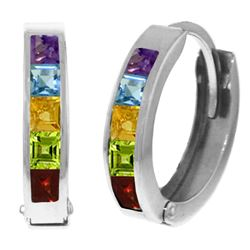 Genuine 1 ctw Multi-gemstones Earrings Jewelry 14KT White Gold - REF-37V4W