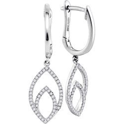 0.25 CTW Diamond Double Nested Oval Dangle Earrings 10KT White Gold - REF-31K4W