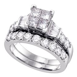 1 CTW Princess Diamond Invisible-set Bridal Engagement Ring 14k White Gold - REF-134K9W