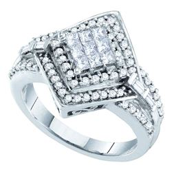 0.75 CTW Princess Diamond Cluster Bridal Engagement Ring 14KT White Gold - REF-87F2N