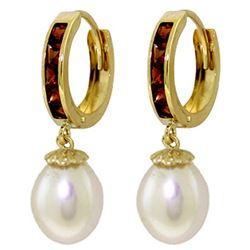 Genuine 9.3 ctw Garnet & Pearl Earrings Jewelry 14KT Yellow Gold - REF-44X4M