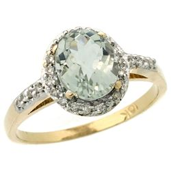 Natural 1.3 ctw Green-amethyst & Diamond Engagement Ring 14K Yellow Gold - REF-32W2K