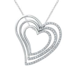 0.64 CTW Diamond Necklace 18K White Gold - REF-118R9K