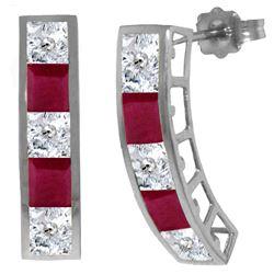 Genuine 4.7 ctw White Topaz Earrings Jewelry 14KT White Gold - REF-43Z8N