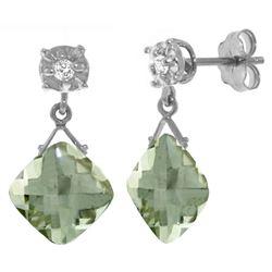 Genuine 17.56 ctw Green Amethyst & Diamond Earrings Jewelry 14KT White Gold - REF-48W3Y