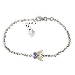 Genuine 0.60 ctw Opal & Tanzanite Bracelet Jewelry 14KT White Gold - REF-44M3T