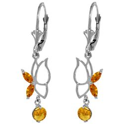 Genuine 0.80 ctw Citrine Earrings Jewelry 14KT White Gold - REF-38Y2F