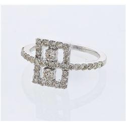 0.83 CTW Diamond Ring 14K White Gold - REF-42N2Y