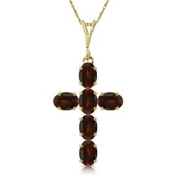 Genuine 1.50 ctw Garnet Necklace Jewelry 14KT Yellow Gold - REF-32T8A