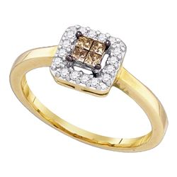0.25 CTW Princess Cognac-brown Color Diamond Halo Ring 10KT Yellow Gold - REF-19X4Y