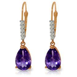 Genuine 3.15 ctw Amethyst & Diamond Earrings Jewelry 14KT Rose Gold - REF-44V3W