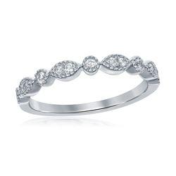 0.17 CTW Diamond Milgrain Stackable Ring 14KT White Gold - REF-24F2N
