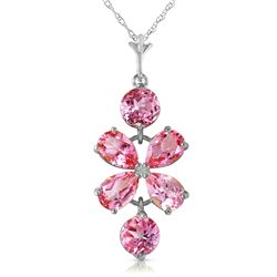 Genuine 3.15 ctw Pink Topaz Necklace Jewelry 14KT White Gold - REF-30T3A