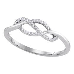 0.10 CTW Diamond Crossover Strand Ring 10KT White Gold - REF-13K4W