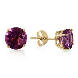 Genuine 3.1 ctw Amethyst Earrings Jewelry 14KT Yellow Gold - REF-23A9K