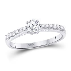 0.50 CTW Diamond Solitaire Bridal Engagement Ring 14KT White Gold - REF-82X4Y