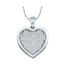 0.33 CTW Diamond Heart Love Pendant 10KT White Gold - REF-30F2N