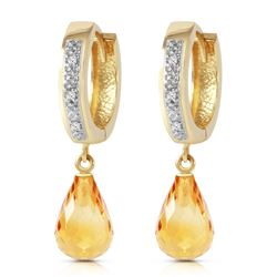 Genuine 4.54 ctw Citrine & Diamond Earrings Jewelry 14KT Yellow Gold - REF-52Z2N