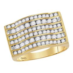 1.8 CTW Mens Diamond Rectangle Channel-set Cluster Domed Ring 10KT Yellow Gold - REF-126M2H