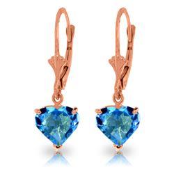 Genuine 3.25 ctw Blue Topaz Earrings Jewelry 14KT Rose Gold - REF-29Z2N