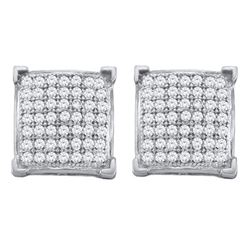 0.33 CTW Diamond Square Cluster Screwback Earrings 10KT White Gold - REF-22K4W