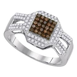 0.40 CTW Cognac-brown Color Diamond Square Cluster Ring 10KT White Gold - REF-28H4M