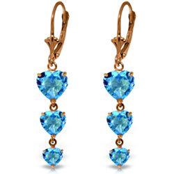 Genuine 6 ctw Blue Topaz Earrings Jewelry 14KT Rose Gold - REF-66F9Z