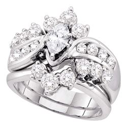 1.99 CTW Marquise Diamond Bridal Engagement Ring 14KT White Gold - REF-299F9N