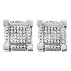 0.28 CTW Mens Pave-set Diamond 3D Cube Square Cluster Earrings 10KT White Gold - REF-19M4H
