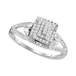 0.15 CTW Diamond Cluster Split-shank Ring 10KT White Gold - REF-18M7H