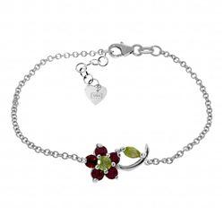 Genuine 0.87 ctw Peridot & Ruby Bracelet Jewelry 14KT White Gold - REF-52N2R