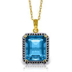 Genuine 7.8 ctw Blue Topaz & Black Diamond Necklace Jewelry 14KT Yellow Gold - REF-70H4X