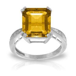 Genuine 5.62 ctw Citrine & Diamond Ring Jewelry 14KT White Gold - REF-82V9W