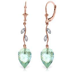 Genuine 22.52 ctw Blue Topaz & Diamond Earrings Jewelry 14KT Rose Gold - REF-68A2K