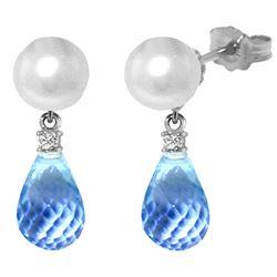 Genuine 6.6 ctw Blue Topaz & Diamond Earrings Jewelry 14KT White Gold - REF-27K6V
