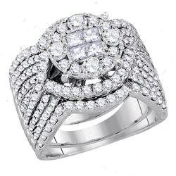 2.52 CTW Princess Diamond Soleil Bridal Engagement Ring 14KT White Gold - REF-269F9N