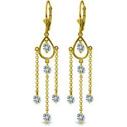 Genuine 3 ctw Aquamarine Earrings Jewelry 14KT Yellow Gold - REF-61P5H