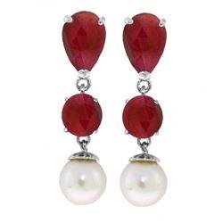 Genuine 10.10 ctw Ruby & Pearl Earrings Jewelry 14KT White Gold - REF-55Y3F