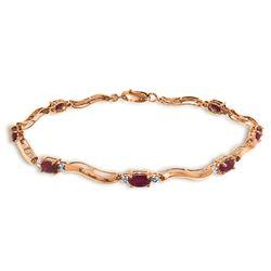 Genuine 2.01 ctw Ruby & Diamond Bracelet Jewelry 14KT Rose Gold - REF-82W3Y