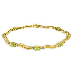 Genuine 2.01 ctw Peridot & Diamond Bracelet Jewelry 14KT Yellow Gold - REF-76N7R