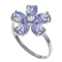 Genuine 2.22 ctw Tanzanite & Diamond Ring Jewelry 14KT White Gold - REF-52N3R