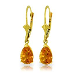 Genuine 2.85 ctw Citrine Earrings Jewelry 14KT Yellow Gold - REF-29W3Y