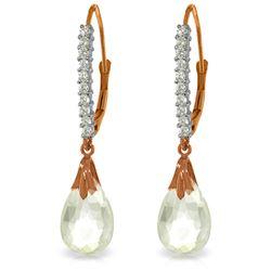 Genuine 6.3 ctw White Topaz & Diamond Earrings Jewelry 14KT Rose Gold - REF-56T3A