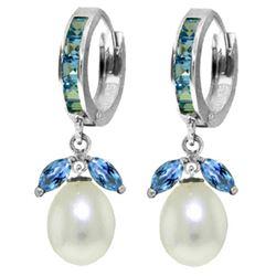 Genuine 10.30 ctw Blue Topaz & Pearl Earrings Jewelry 14KT White Gold - REF-56Y7F